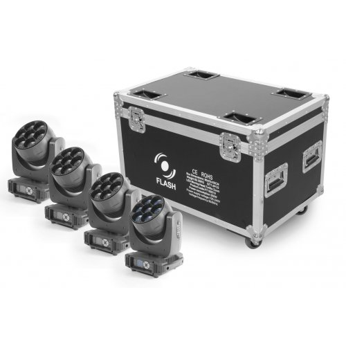 FLASH 4x LED MOVING HEAD 7x40W ZOOM + CASE