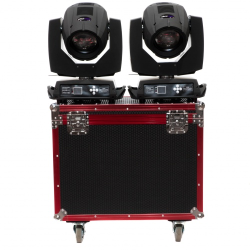 ZESTAW 2x COLORSTAGE BEAM 230W 7R TRIPLE PRISM GLASS GOBO + RED CASE TRANSPORTOWY