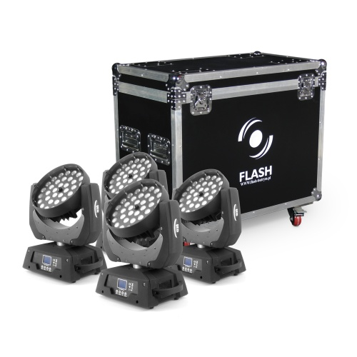 ZESTAW 4x LED GŁOWA RUCHOMA 36x10W ZOOM PLUS CASE FLASH WASH